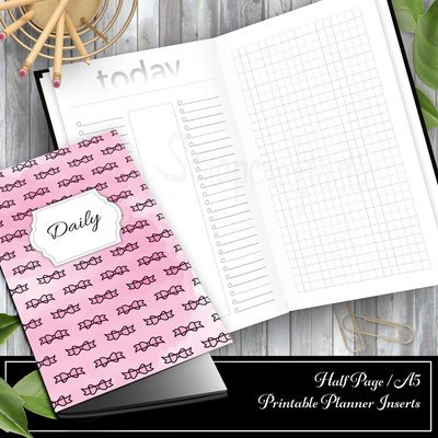 Daily Lists, Column and Grid A5/Half Page Traveler's Notebook Printable Inserts