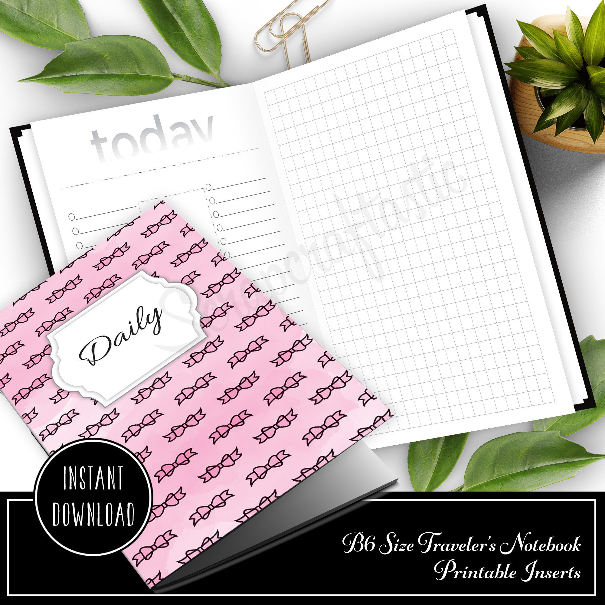 Daily Lists, Column and Grid B6 Traveler's Notebook Printable Inserts 50025