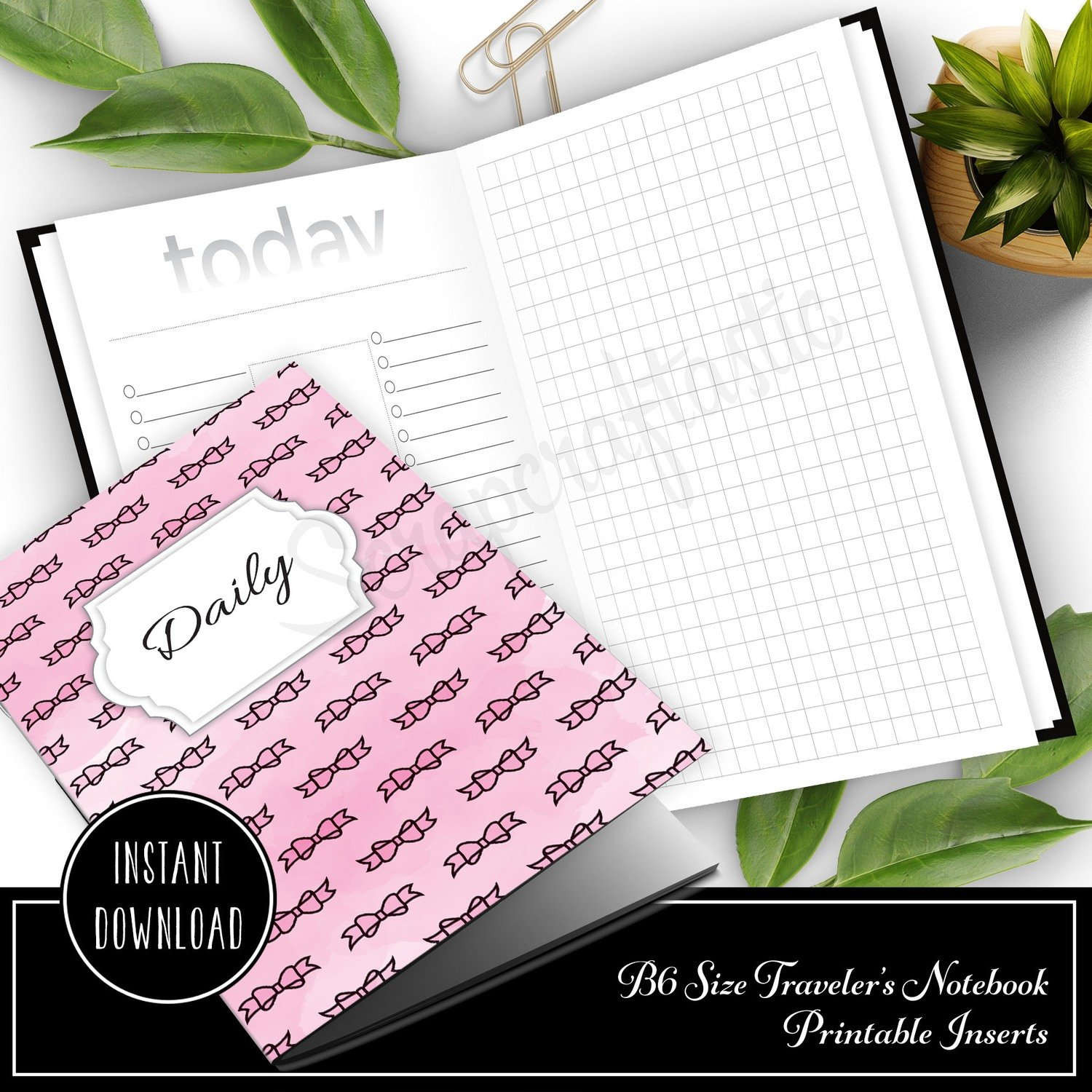 Daily Lists, Column and Grid B6 Traveler's Notebook Printable Inserts