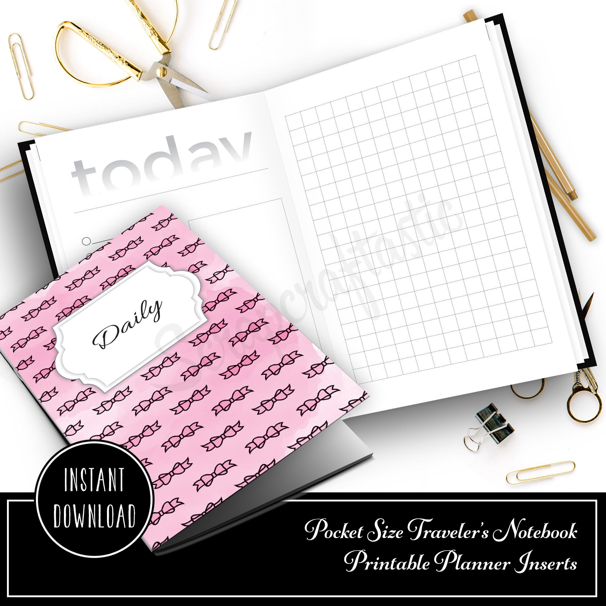 Daily Lists, Column and Grid Pocket Size Traveler's Notebook Printable Inserts 10021