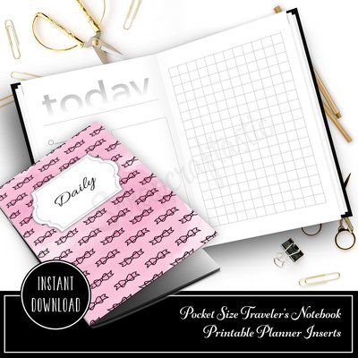 Daily Lists, Column and Grid Pocket Size Traveler's Notebook Printable Inserts