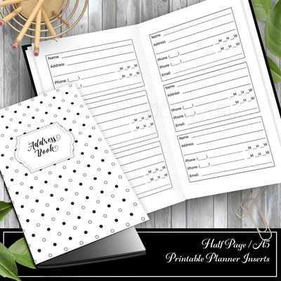 Address and Phone Log Half Page/A5 Traveler's Notebook Printable Planner Inserts