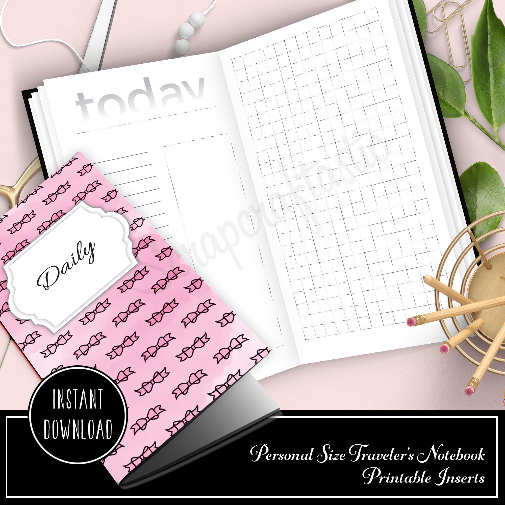 Daily Lists, Column and Grid Personal Size Traveler's Notebook Printable Inserts 09013