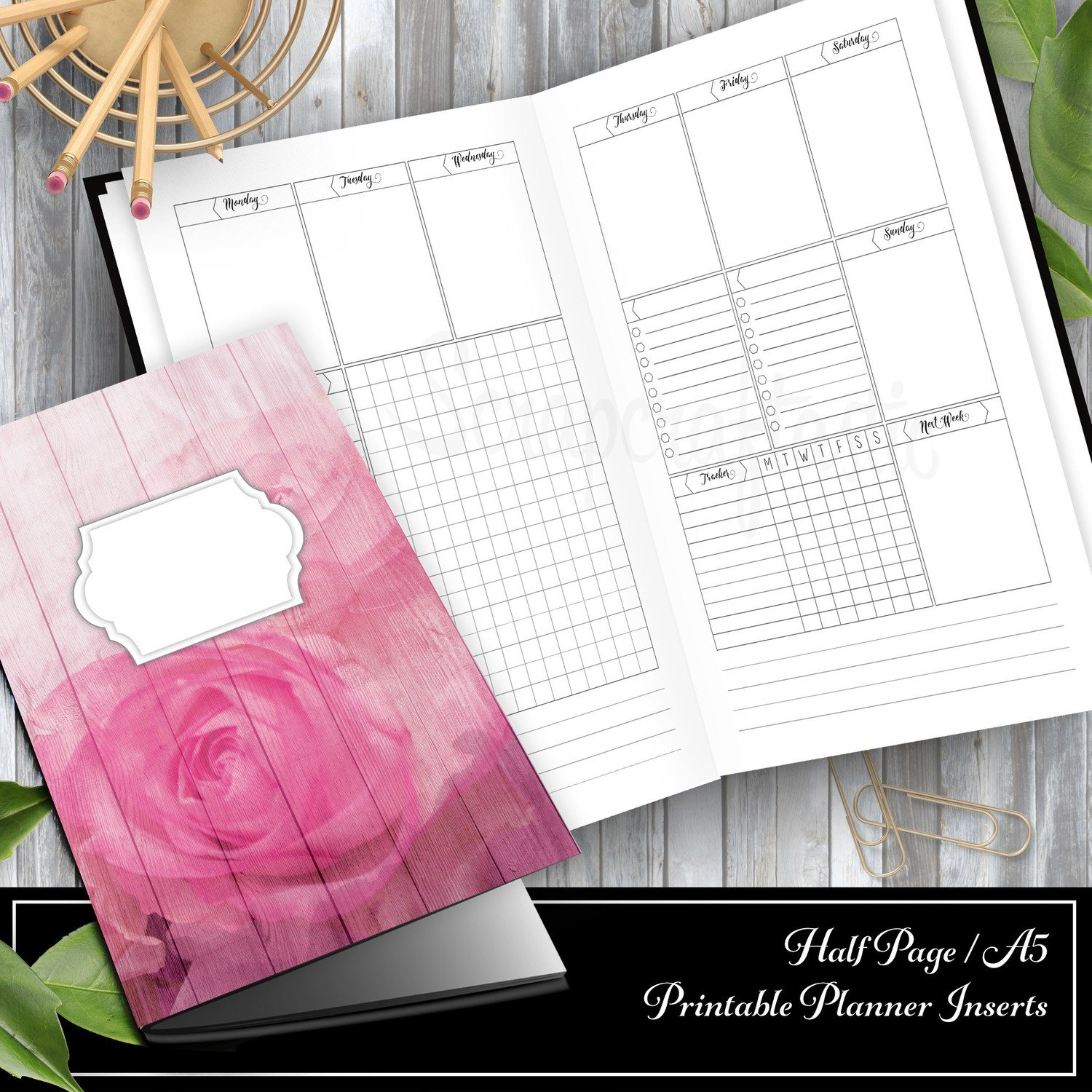 Deluxe Week on Two Pages (WO2P) Half Page/A5 Traveler's Notebook Printable Inserts