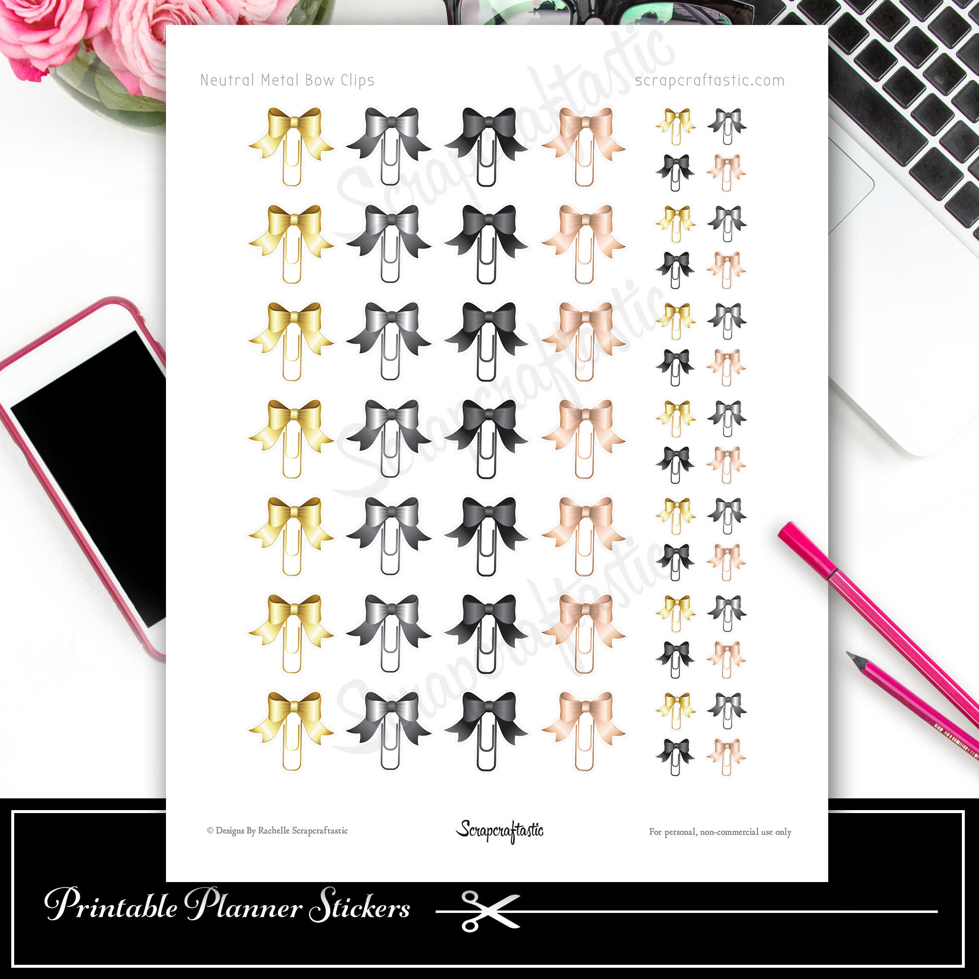 Neutral Metal Bow Clip Printable Planner Stickers for Traveler's Notebooks and Paper Planners, Agendas and Organizers 03018