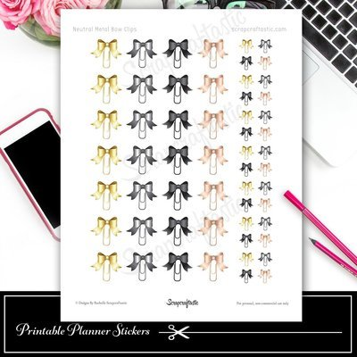 Neutral Metal Bow Clip Printable Planner Stickers for Traveler's Notebooks and Paper Planners, Agendas and Organizers