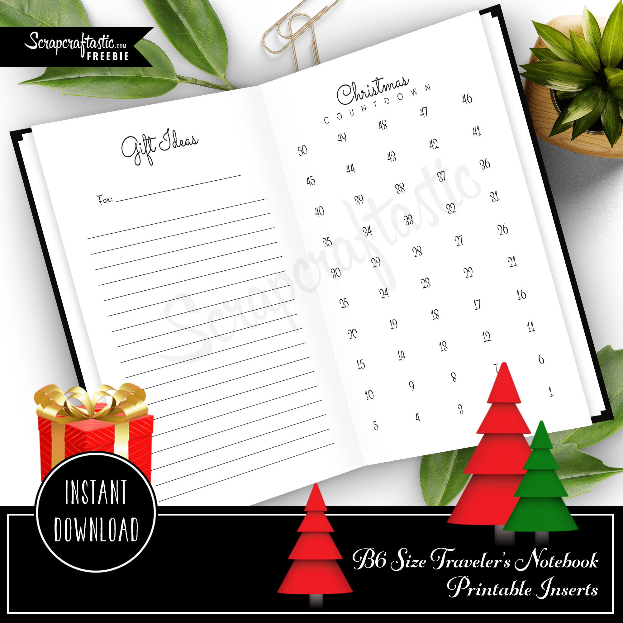 Christmas Countdown and Gift Ideas B6 Traveler's Notebook Inserts 08006
