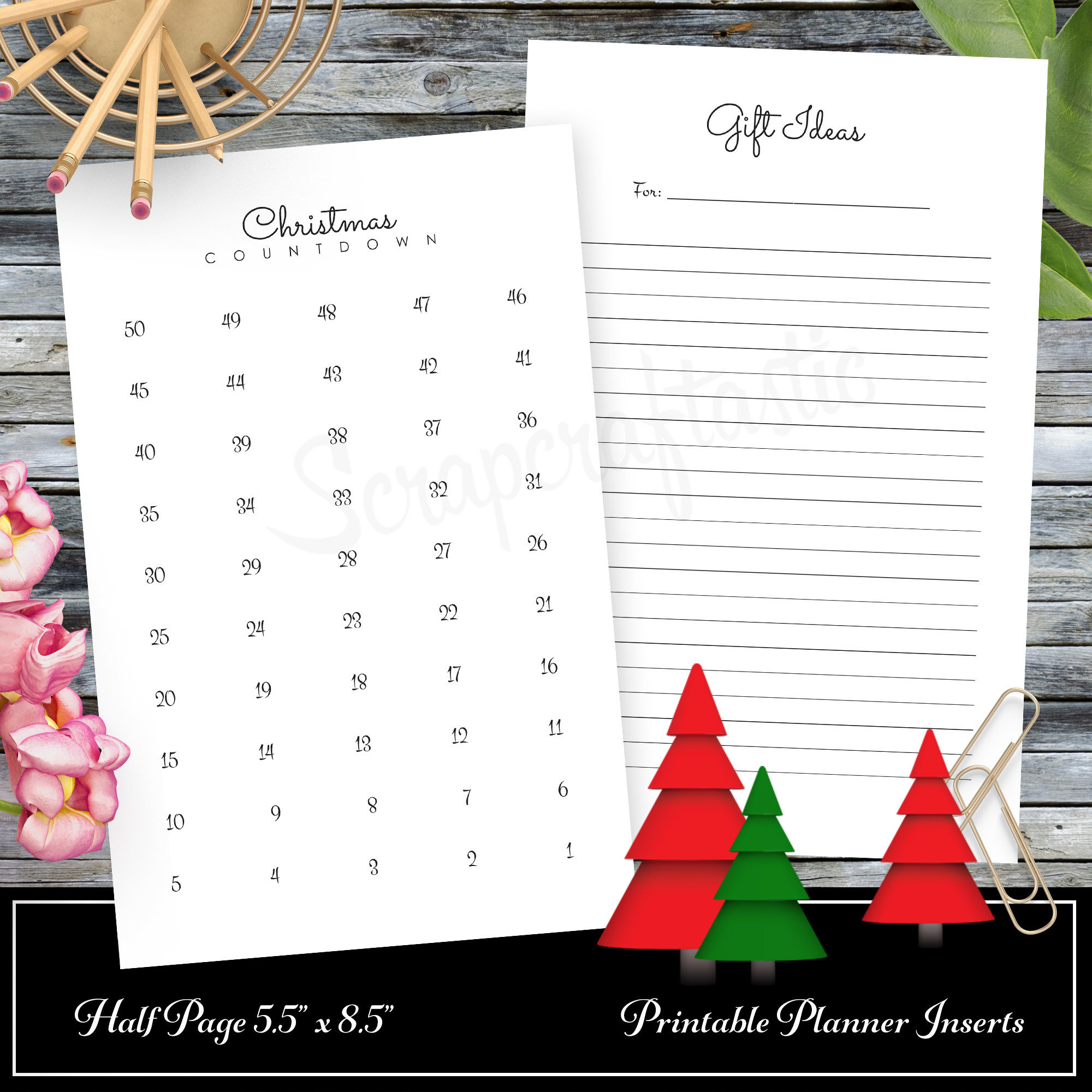 Christmas Countdown and Gift Ideas A5 Traveler's Notebook Inserts 08007