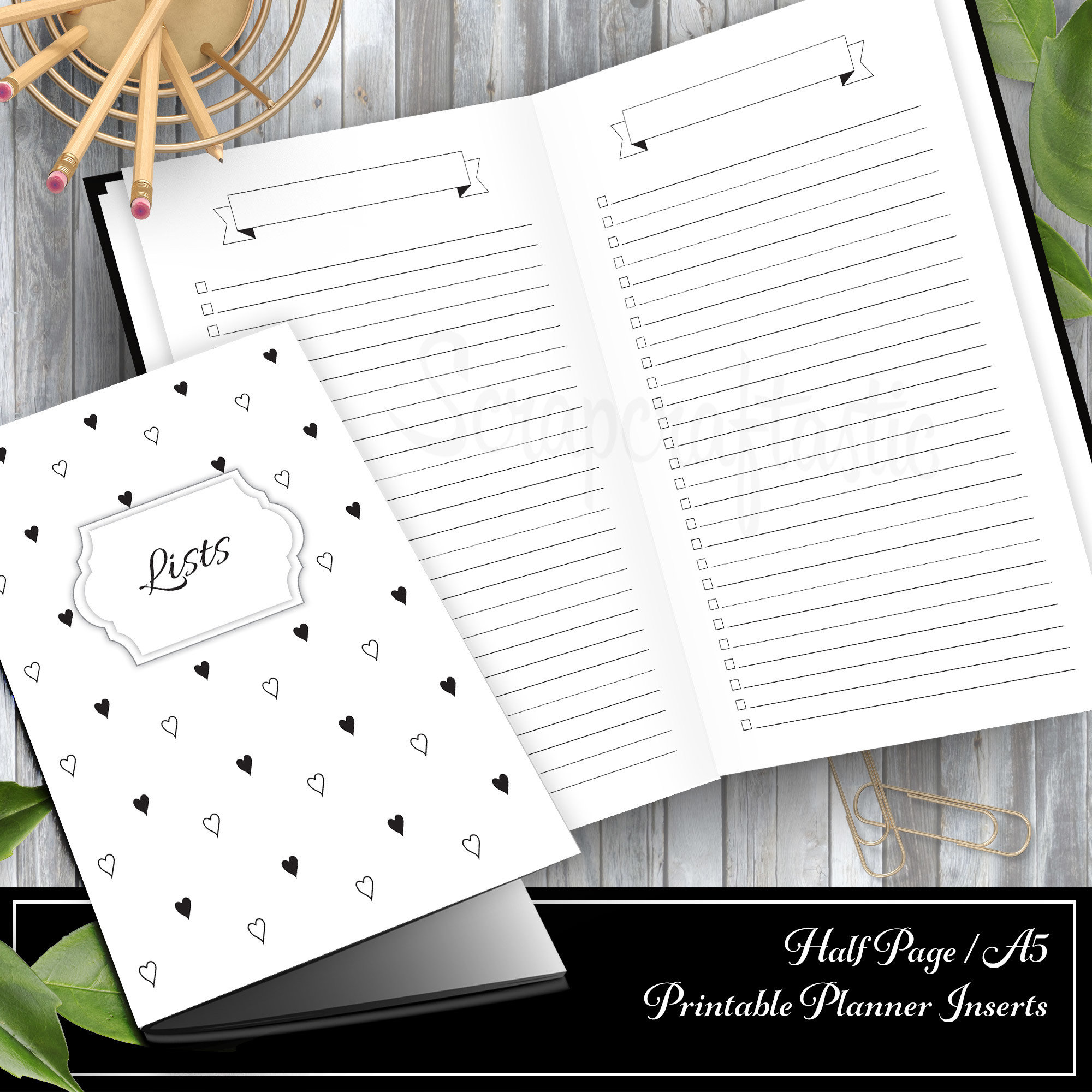 Banner Header and Check List Half Letter/A5 Printable Insert (Binder or Traveler's Notebook) 00320