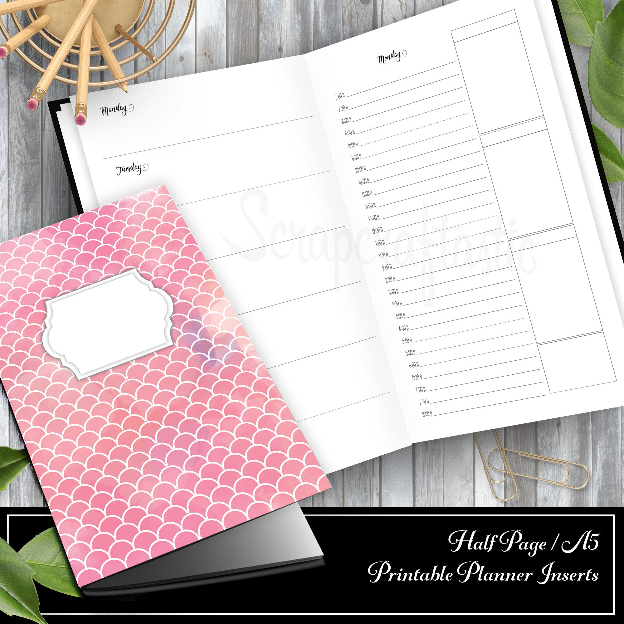 Full Month Notebook: Daily A5/Half Letter Size with MO2P, WO1P Horizontal and DO1P Daily Schedule Pages Printable 00321