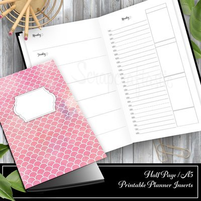 Full Month Notebook: Daily A5/Half Letter Size with MO2P, WO1P Horizontal and DO1P Daily Schedule Pages Printable