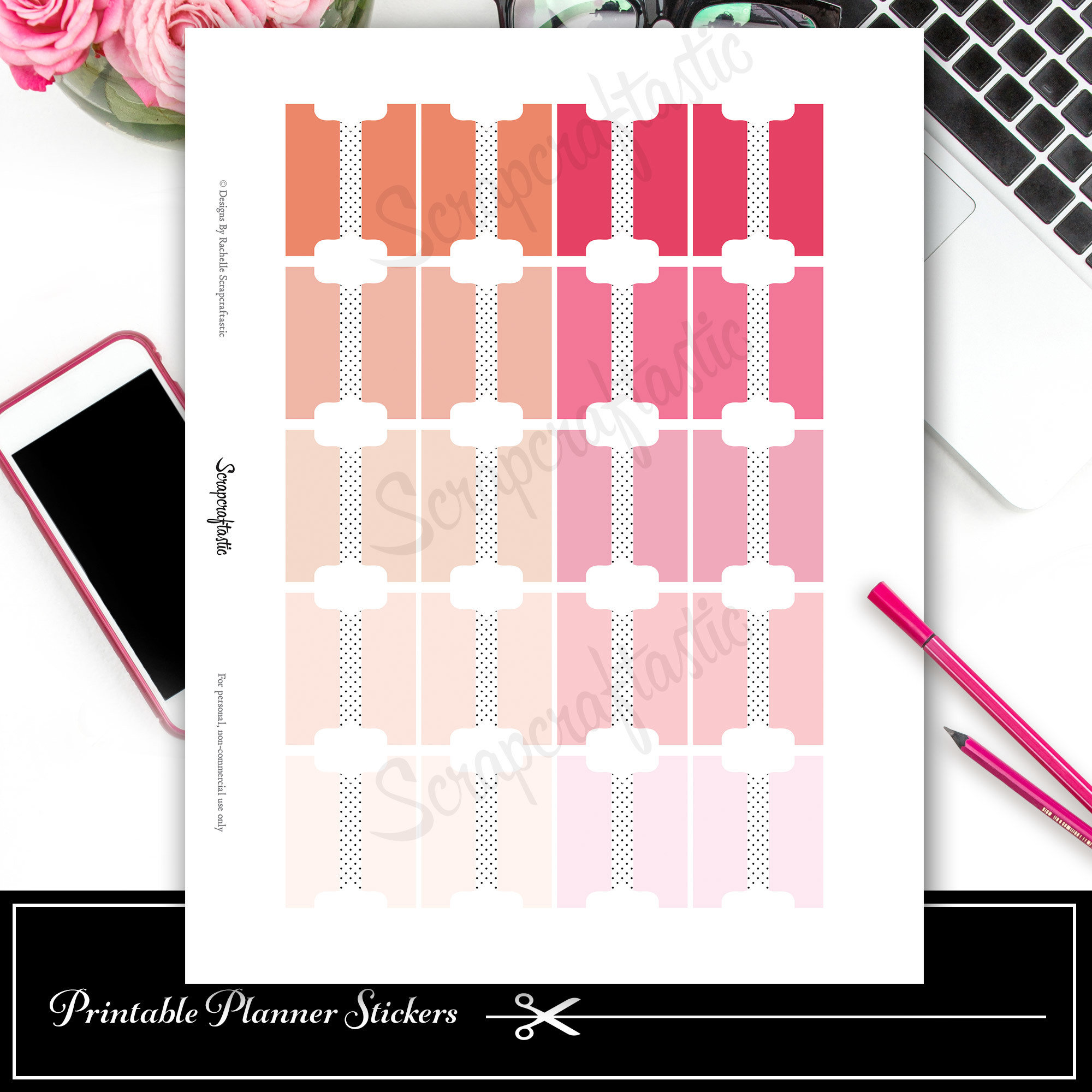 Tab Pinks Printable and Silhouette Cut File 03020