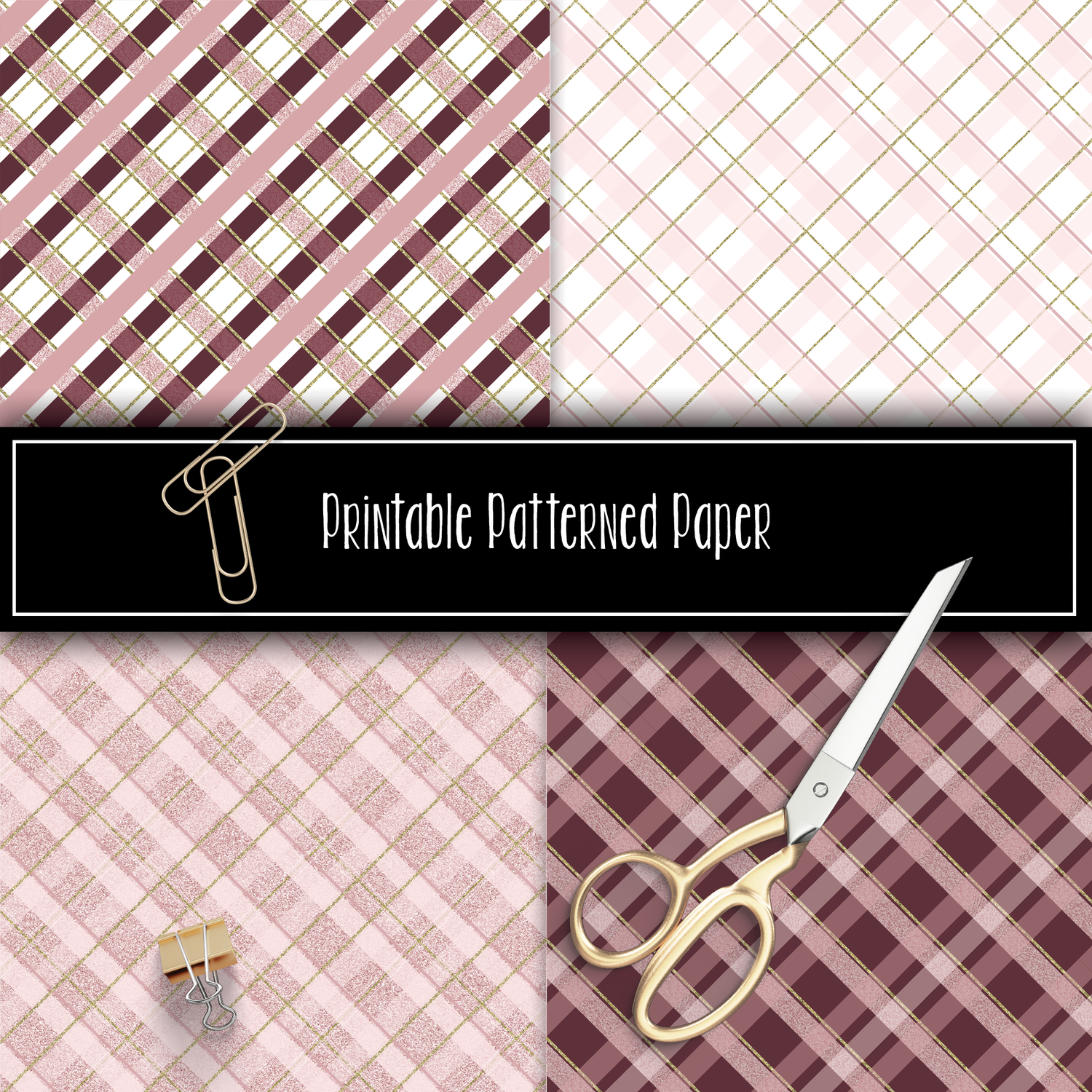 Pink Berry Plaid Printable Pattern Papers (12x12)