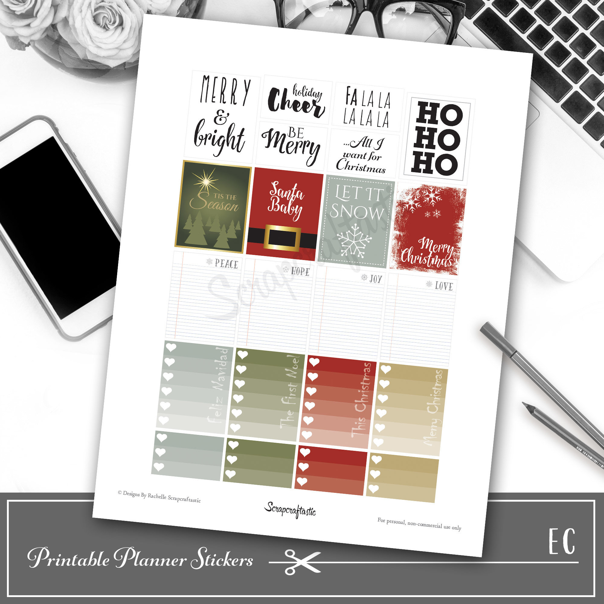 SayIt Christmas Quote Printable Planner Stickers for Erin Condren (EC) Life Planner 04155