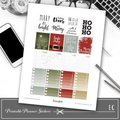 SayIt Christmas Quote Printable Planner Stickers for Erin Condren (EC) Life Planner