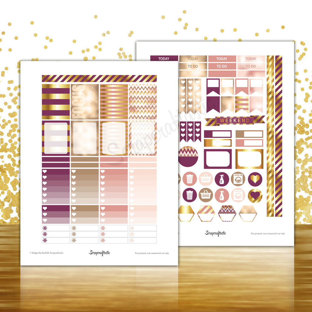 Sophisticates Pattern, Plum, Gold, Pink Everyday Series Printable Planner Stickers for Erin Condren (EC) Life Planner 04138