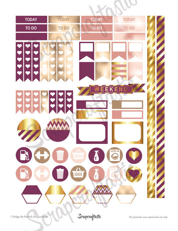 Sophisticates Pattern, Plum, Gold, Pink Everyday Series Printable Planner Stickers for Erin Condren (EC) Life Planner