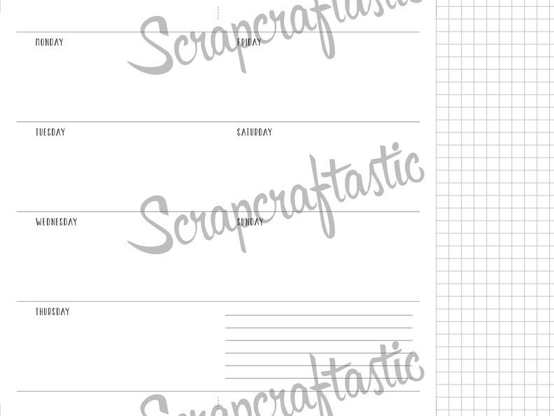 Horizontal Week On Two Pages Standard/Regular Size with Grid Tip-In Traveler's Notebook Printable Planner Inserts Undated