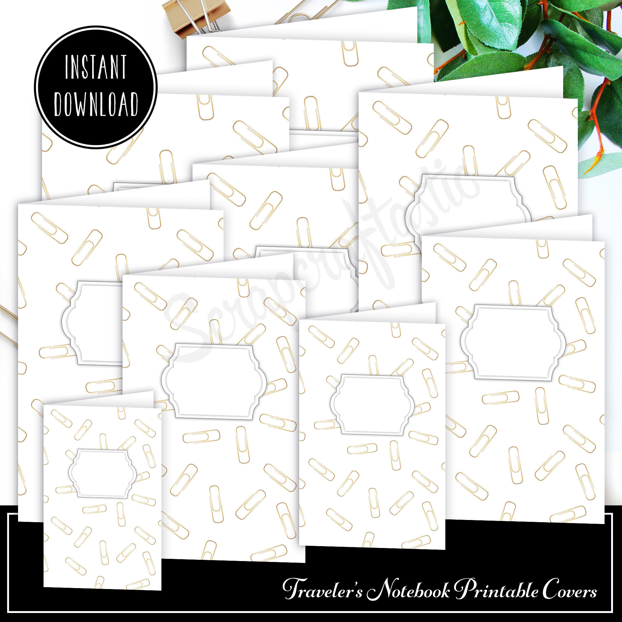 Gold Paper Clip Traveler's Notebook Insert Cover Printable and Patterned Paper Set 05002