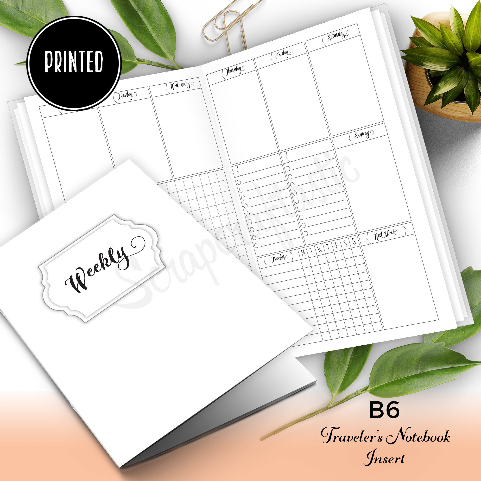 Deluxe {PRINTED} Week on Two Pages (WO2P) B6 Traveler's Notebook Insert 50010P