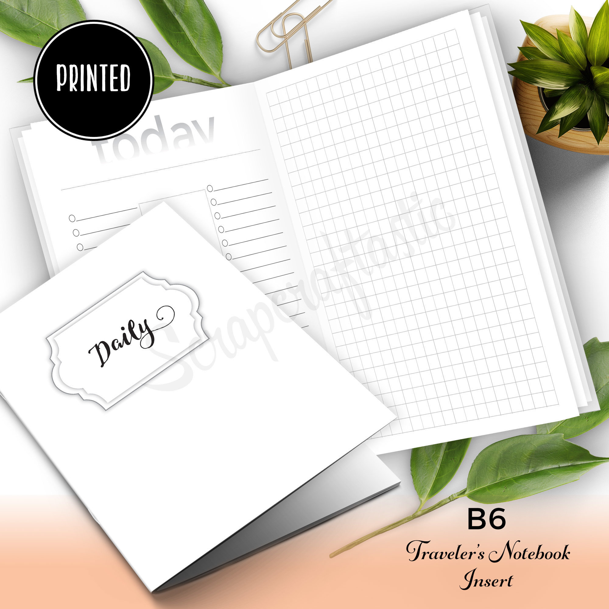 Daily Lists, Column and Grid {PRINTED} B6 Traveler's Notebook Insert 50025P