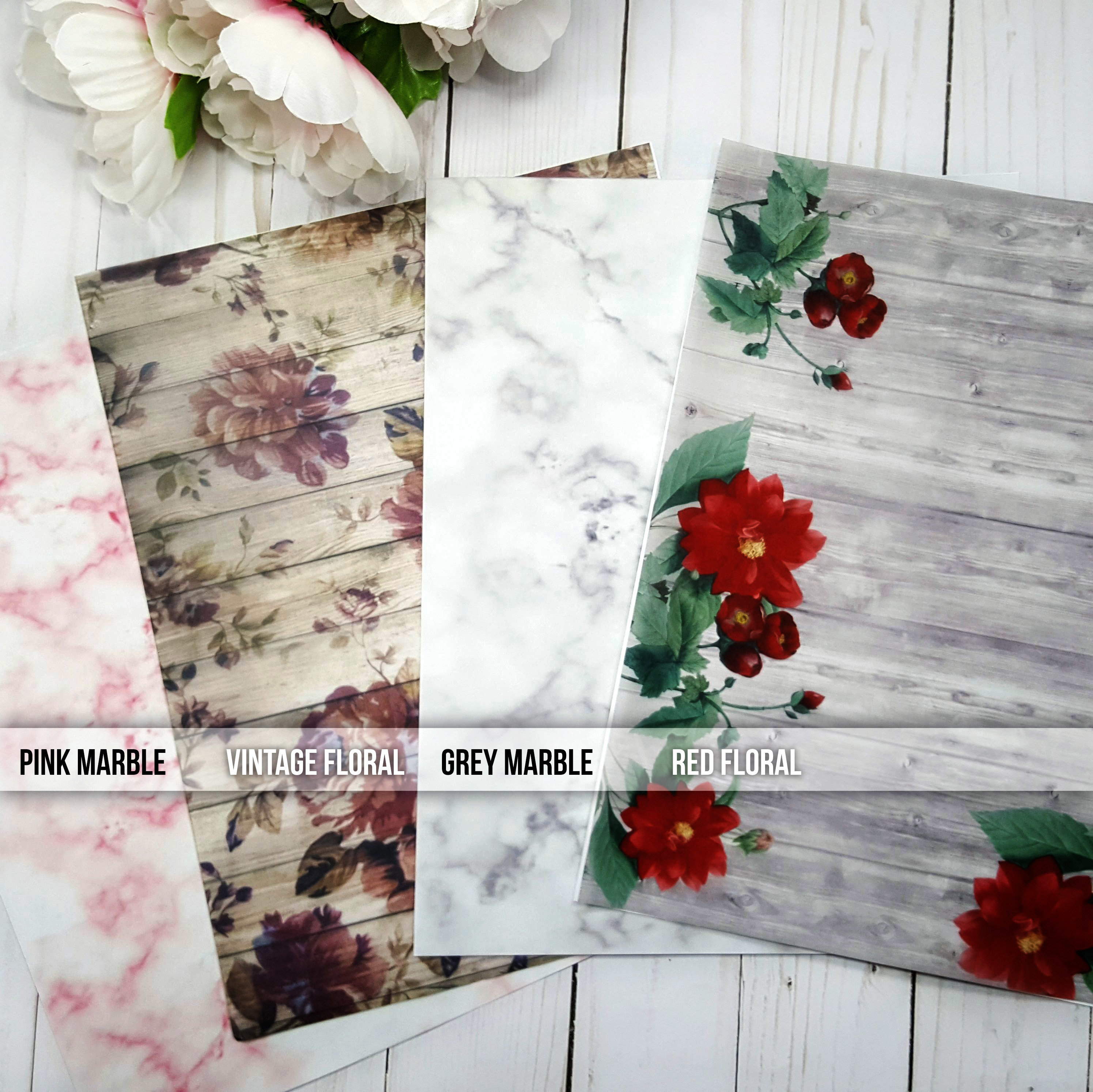 Marbled and Floral Vellum Sheets 90007P