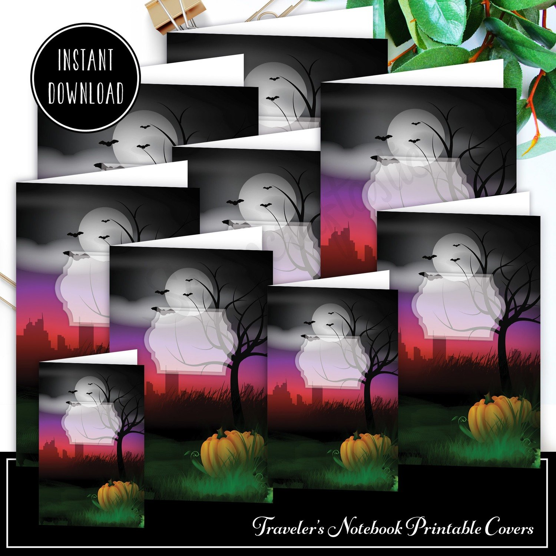 Halloween Traveler's Notebook Insert Cover Printable / Digital Download Set