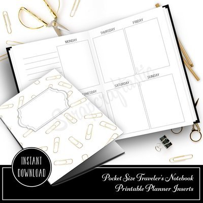 Week on Two Pages (W02P) Undated Printable Pocket Traveler's Notebook Insert