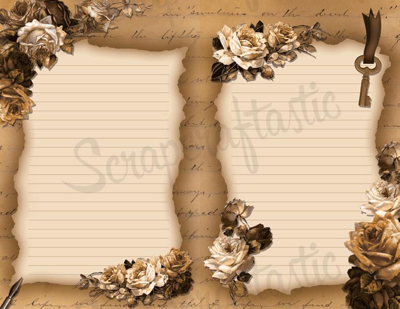 Vintage Floral Printable Journal Pages in 6 Variations (8.5x11)