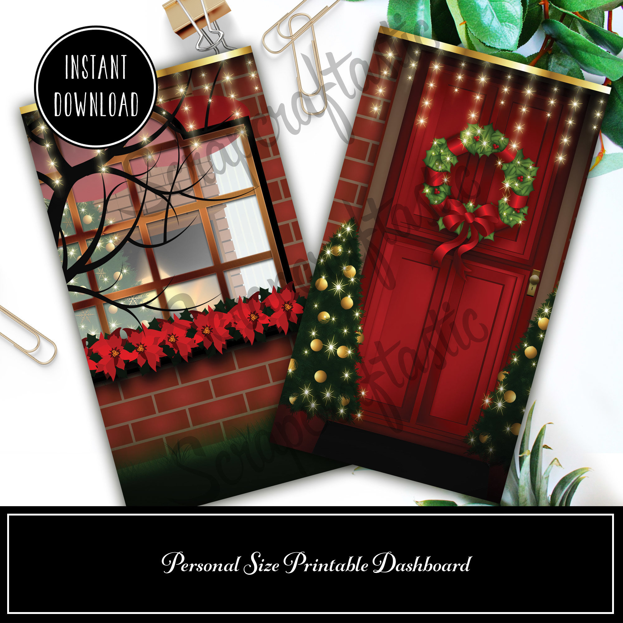 Christmas Digital Illustration Personal Size Printable Dashboard or Traveler's Notebook Cover 05007