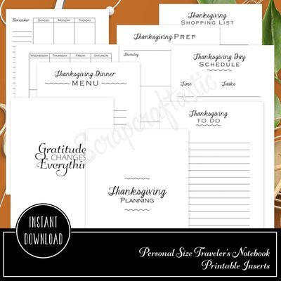 Thanksgiving Planning Printable Personal Size Planner or Organizer Inserts for Filofax, Kikki K