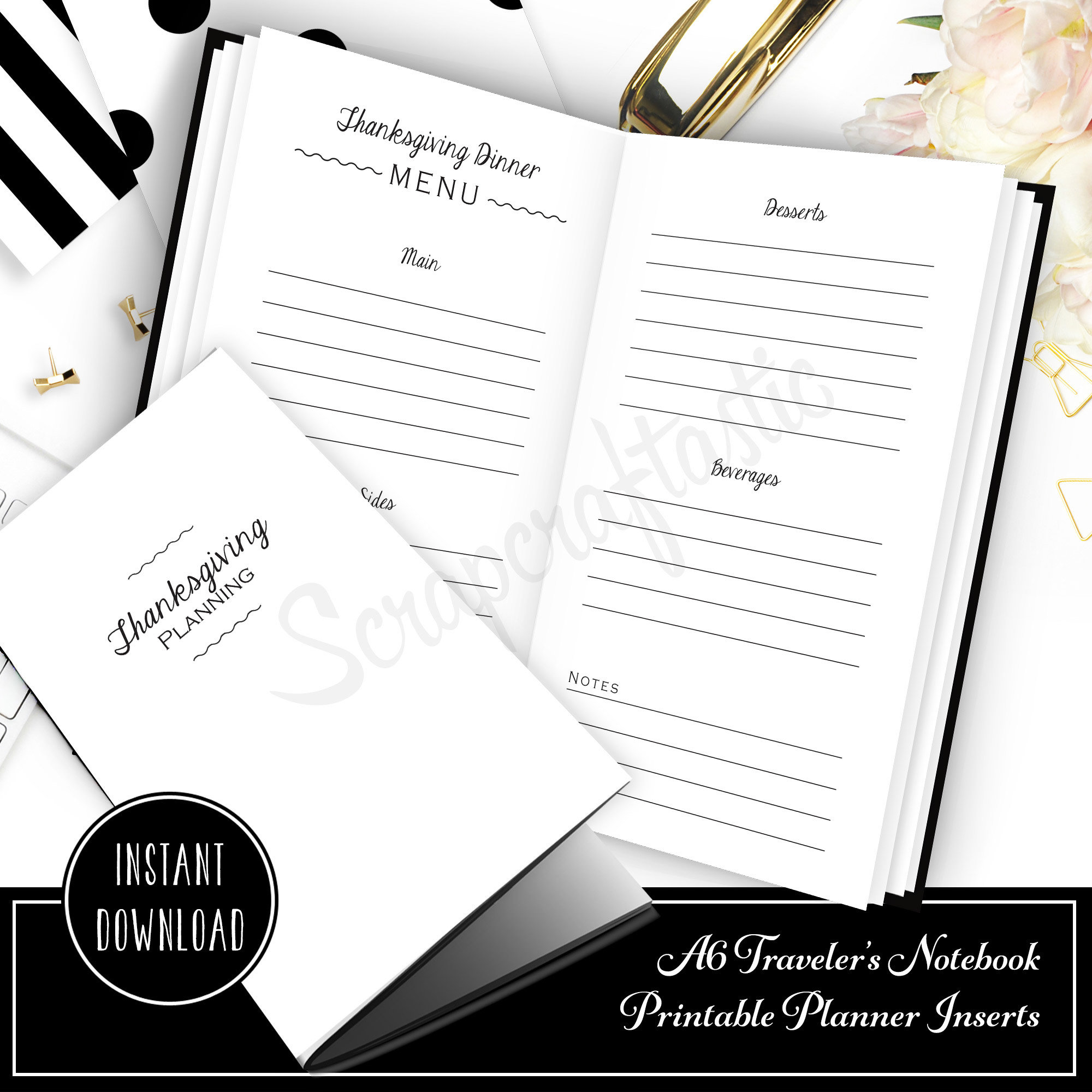Thanksgiving Planning Printable A6 Traveler's Notebook Inserts 40007