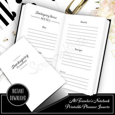 Thanksgiving Planning Printable A6 Traveler's Notebook Inserts