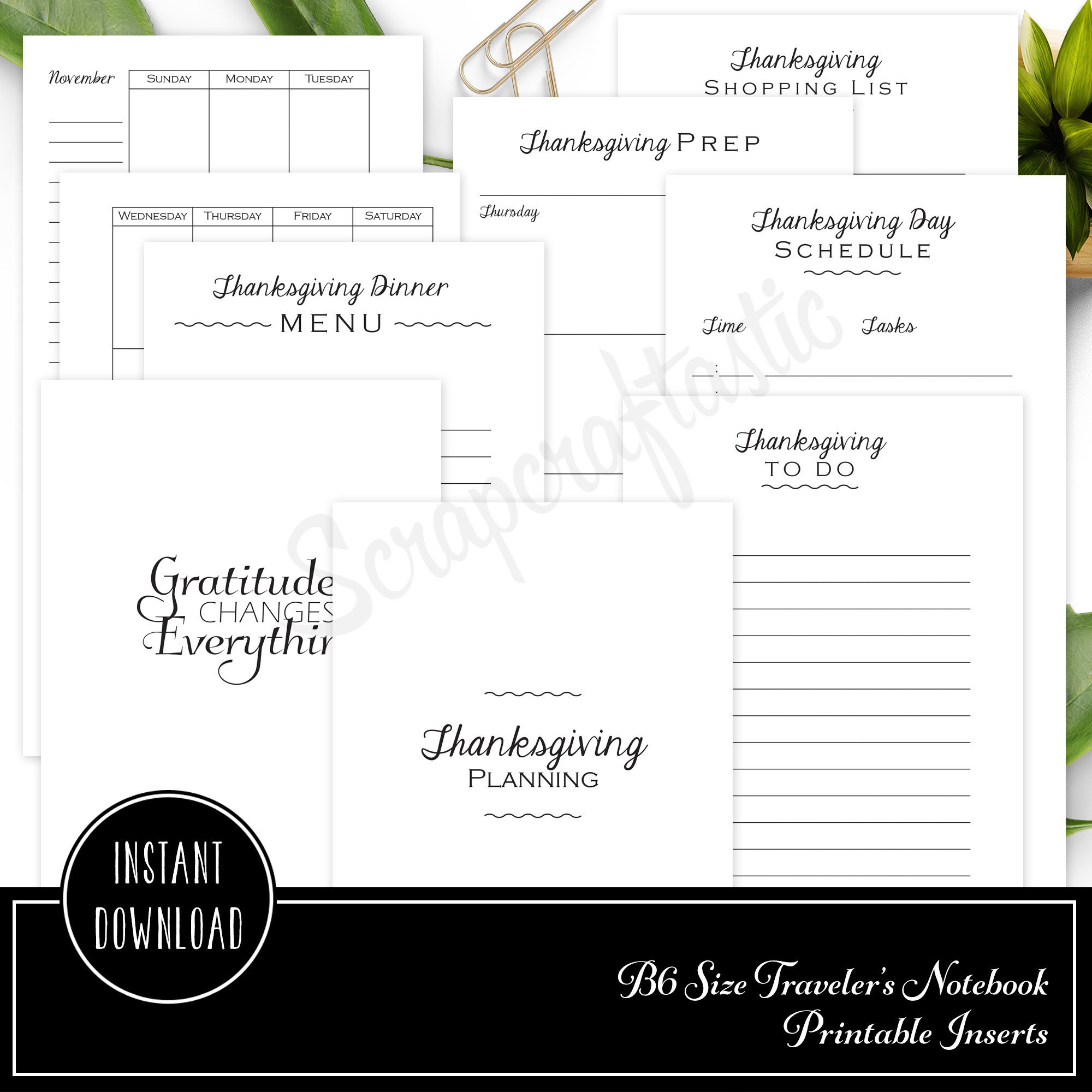 Thanksgiving Planning Printable B6 Traveler's Notebook Inserts 40008