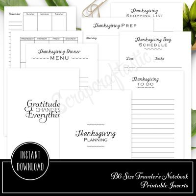 Thanksgiving Planning Printable B6 Traveler's Notebook Inserts