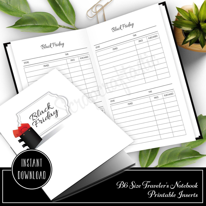 Black Friday Shopping B6 Size Traveler's Notebook Printable Planner Inserts