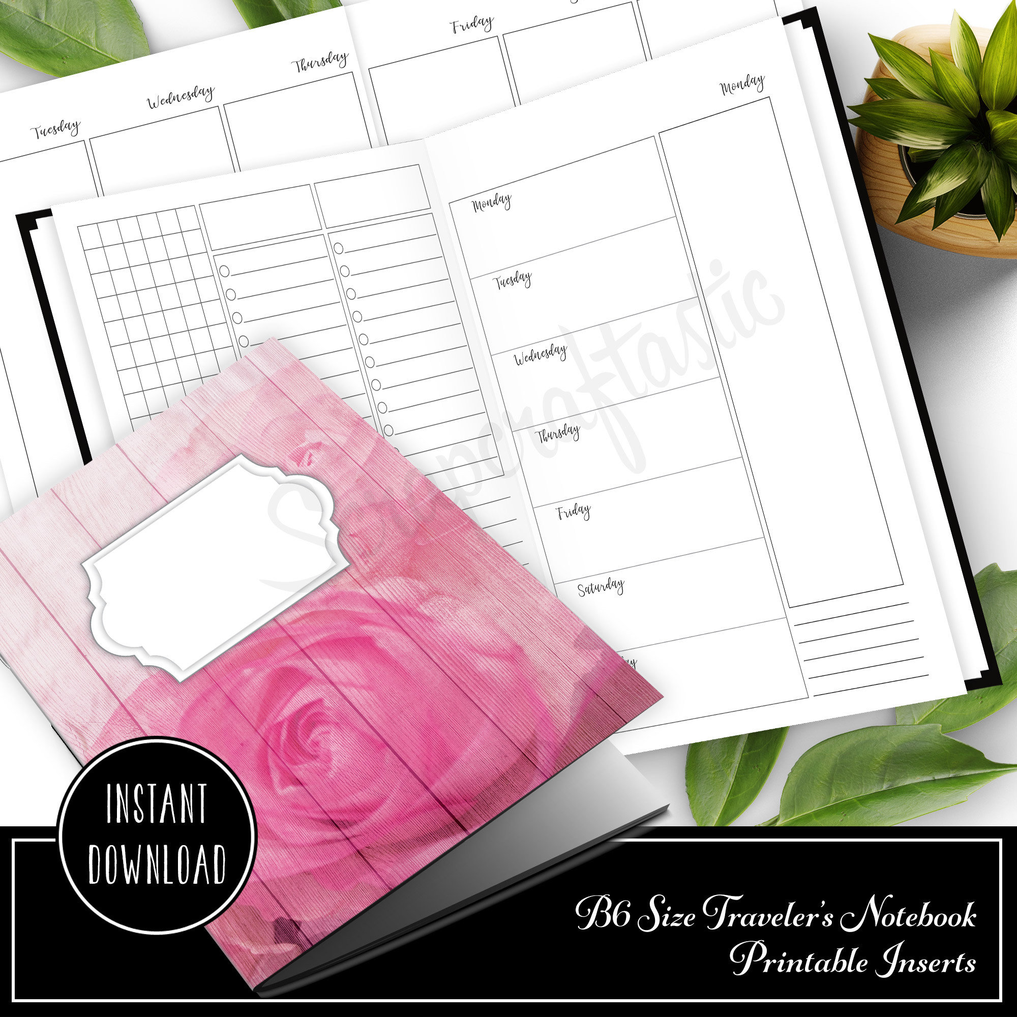 Deluxe Week on Four Pages (WO4P) B6 Traveler's Notebook Printable Inserts 50029