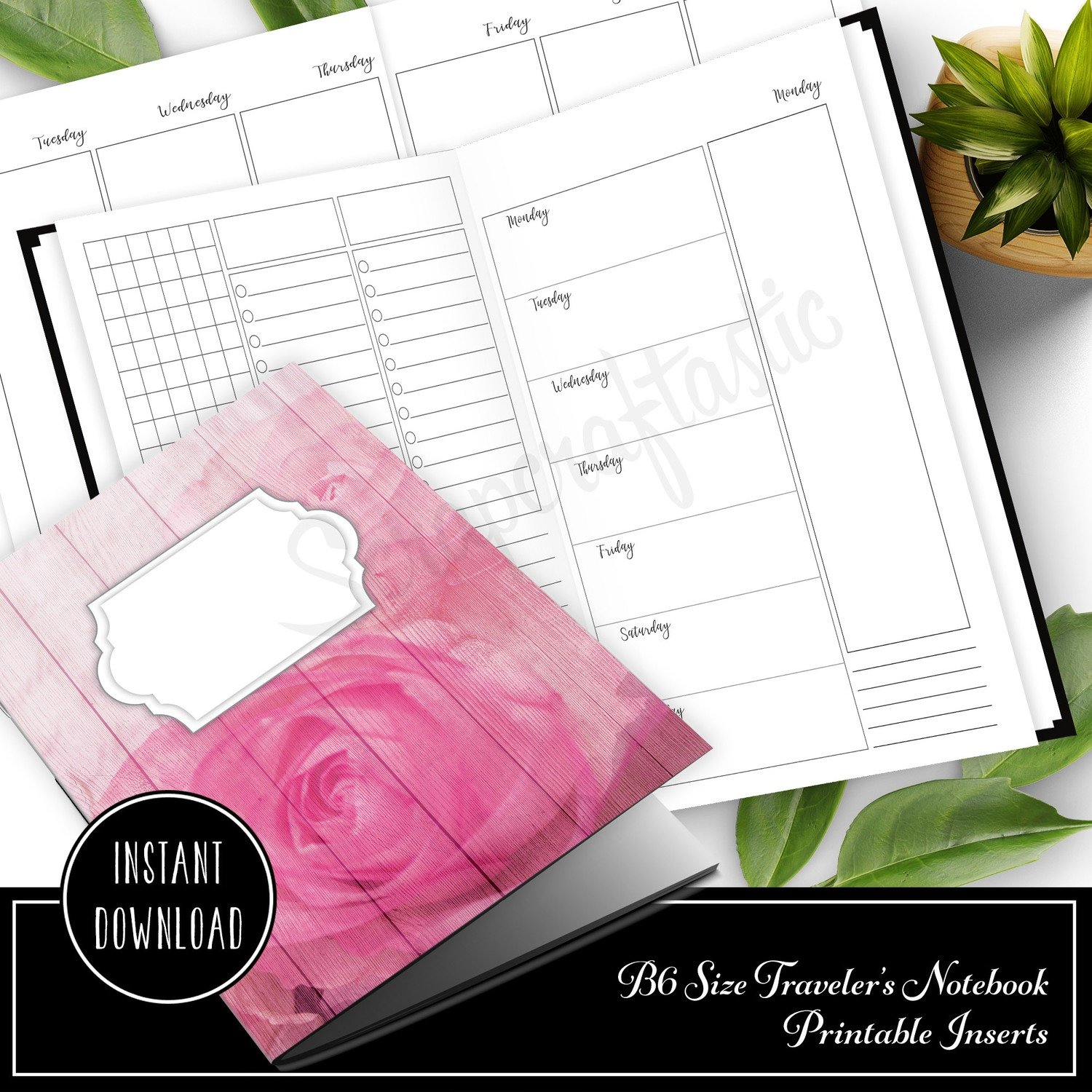 Deluxe Horizontal Vertical Week on Four Pages (WO4P) B6 Traveler's Notebook Printable Inserts