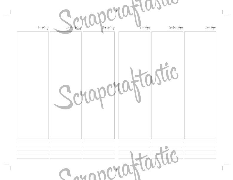 Deluxe Horizontal Vertical Week on Four Pages (WO4P) B6 Traveler's Notebook Printable Inserts {PRINTED}
