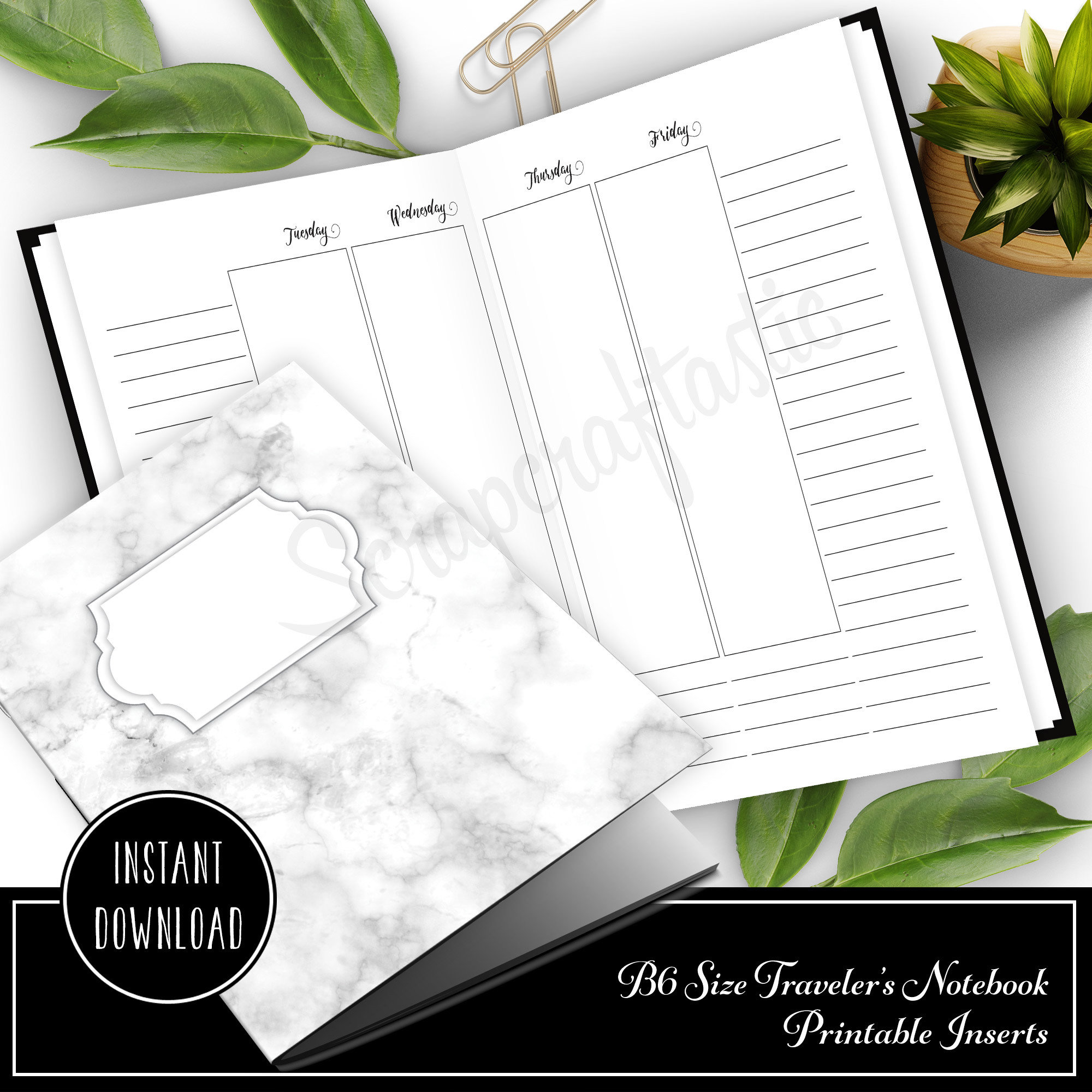 Extra Notes Space Vertical Week on Four Pages (WO4P) B6 Traveler's Notebook Printable Inserts 50030