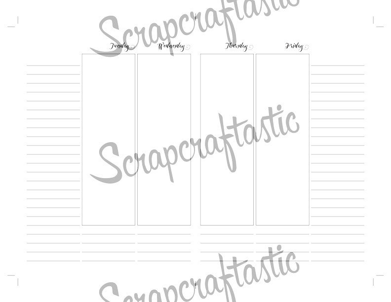 Extra Notes Space Vertical Week on Four Pages (WO4P) B6 Traveler's Notebook Printable Inserts
