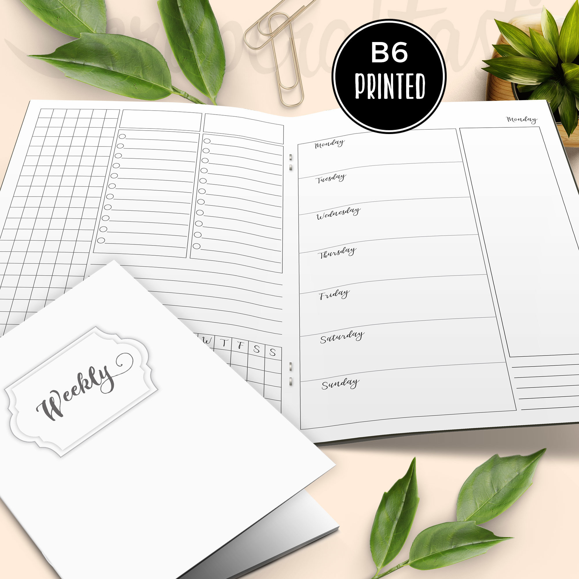 Deluxe Horizontal Vertical Week on Four Pages (WO4P) B6 Traveler's Notebook Printable Inserts {PRINTED} 50029P
