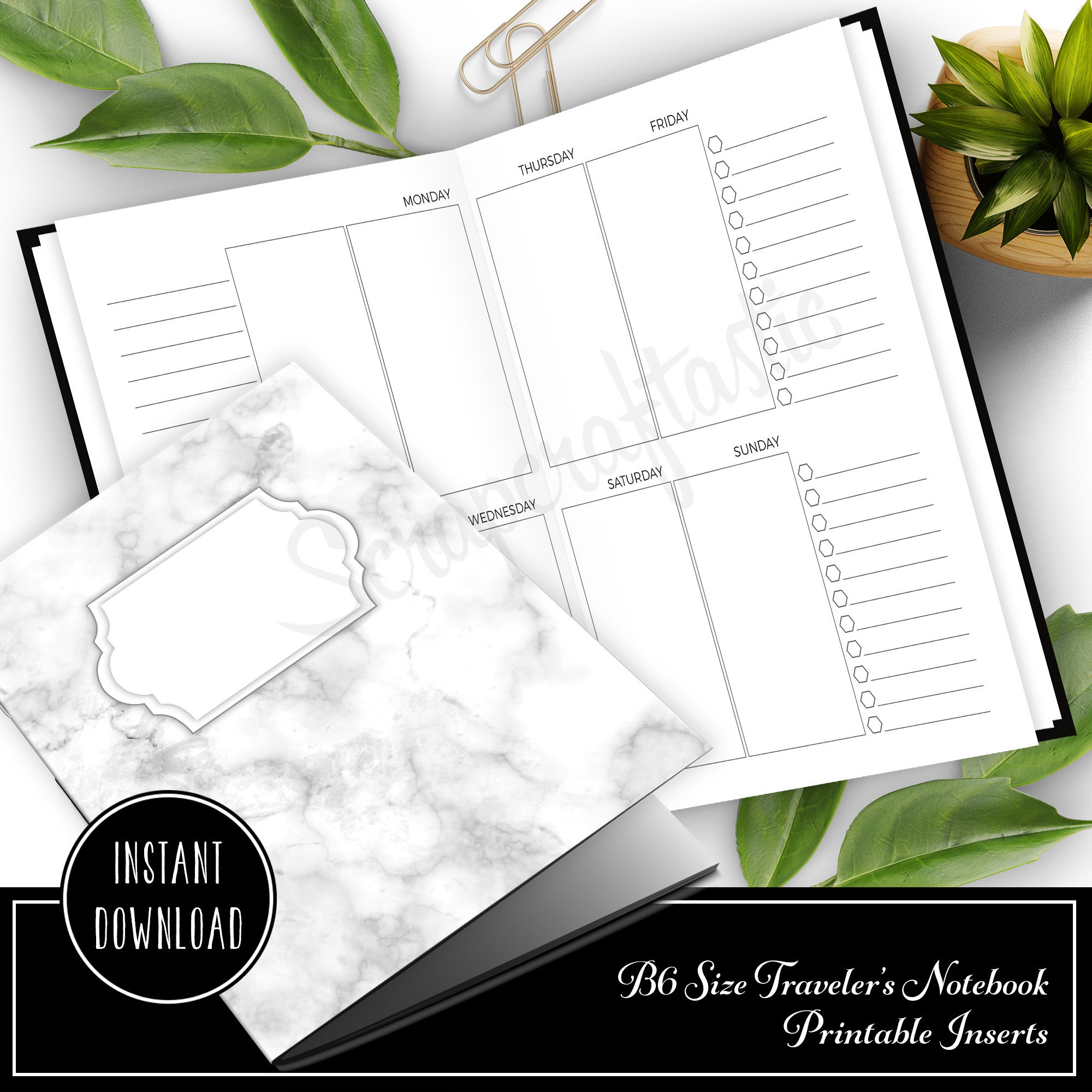 Personal Style Week on Two Pages (WO2P) B6 Traveler's Notebook Printable Inserts 50032
