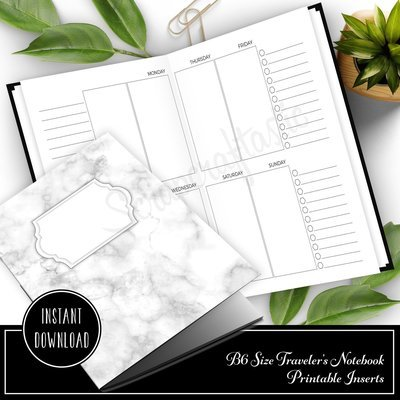 Personal Style Week on Two Pages (WO2P) B6 Traveler's Notebook Printable Inserts