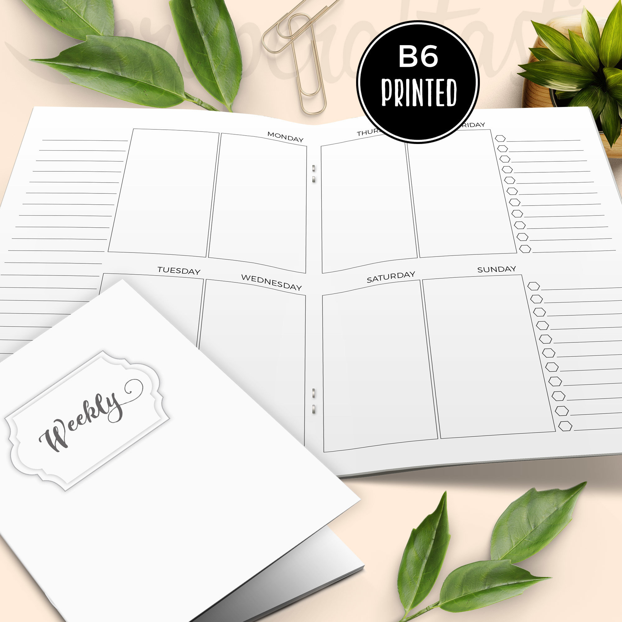 Personal Style Week on Two Pages (WO2P) B6 Traveler's Notebook Printable Inserts {PRINTED} 50032P