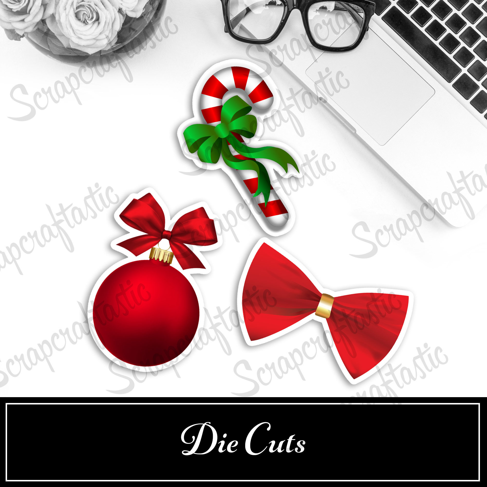 Christmas Reds Die Cut Set - Bauble, Candy Cane & Bow 90012P