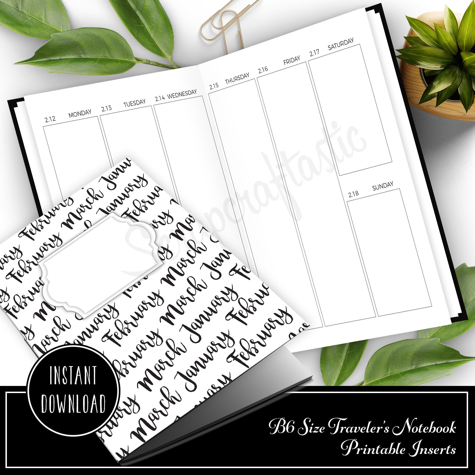 Full Notebook Dated: JANUARY-MARCH / 1st Quarter 2018 B6 Size Printable Traveler's Notebook Insert 50033