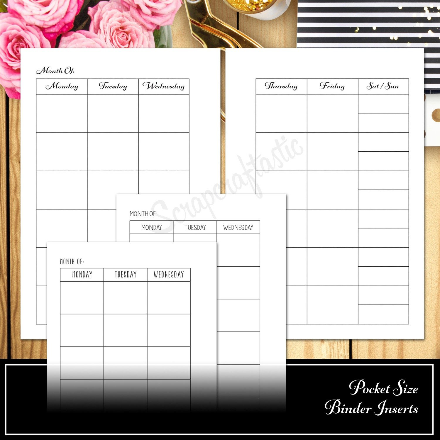 POCKET RINGS - Monthly View Month on Two Pages MO2P Ring Binder Printable Insert Refill Undated