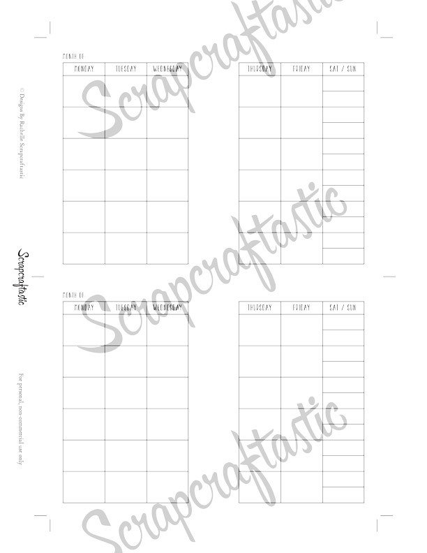 Monthly View Month on Two Pages MO2P Pocket Binder Printable Insert Refill Undated