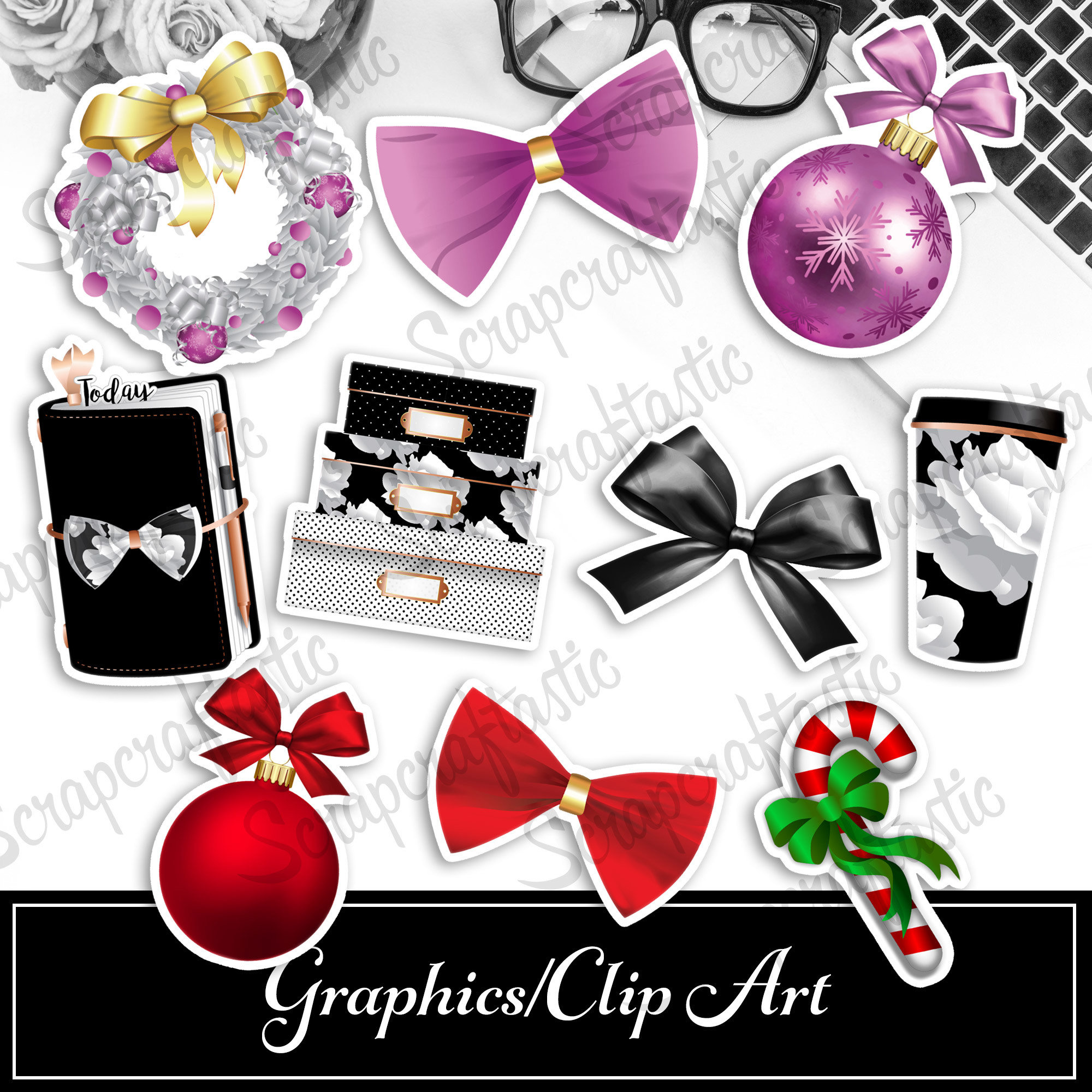 Black Friday, Christmas Reds, Christmas Pinks Digital and Printable Graphics / Clip Art Sets 20171207-01